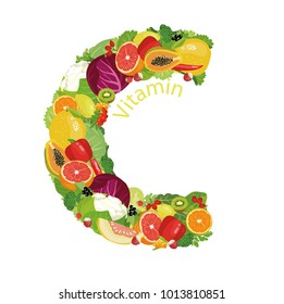 Vitamin C (ascorbic acid). The composition of natural organic vegetables and fruits, with the highest content of vitamin C in the letter designation of vitamin C.