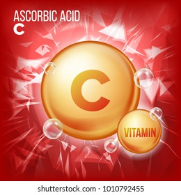Vitamin C Ascorbic Acid. Organic Vitamin Gold Pill Icon. Medicine Capsule, Golden Substance. For Beauty, Cosmetic, Heath Promo Ads Design. Vitamin Complex Formula. Illustration