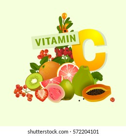 Vitamin C food source vector illustration. Foods containing ascorbic acid with a letter. Fruits and vegetables - fresh oranges, strawberries, berries, peppers, greens isolated on dark grey background