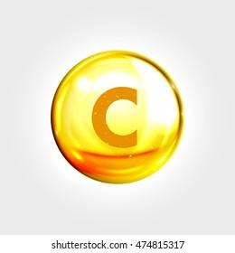 Vitamin C gold icon. Ascorbic acid vitamin drop pill capsule. Shining golden essence droplet. Beauty treatment nutrition skin care design. Vector illustration.