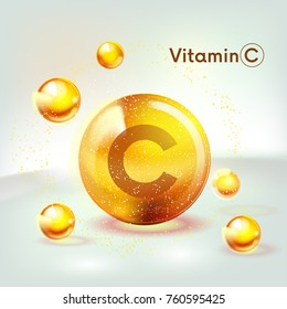 Vitamin C gold shining icon. Ascorbic acid. Shining golden substance drop. Nutrition skin care. Vector illustration.
