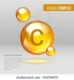 Vitamin C gold shining pill capcule icon . Vitamin complex with Chemical formula, Ascorbic acid. Shining golden substance drop. Meds for heath  ads. Treatment cold flu . Vector illustration