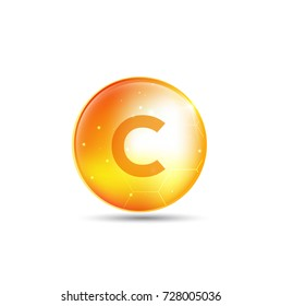 Vitamin C gold shining pill  with Chemical formula, Ascorbic acid. vector design.