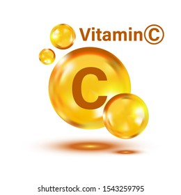 Vitamin C icon. Pill capsule vector illustration on white isolated background. Drug business concept.