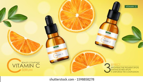Vitamin C serum, beauty company, skin care bottle, realistic package mockup and fresh citrus, treatment essence, beauty cosmetics, vector banner