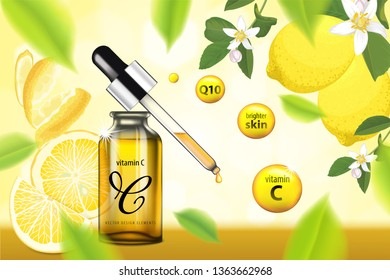 Vitamin C serum essence with lemon and flower background template. Vector set of fruit element for cosmetic, advertising, packaging design of lemon products.