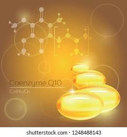 Vitamin coenzyme Q10 gold shining pill capcule icon. Vitamin complex with Chemical formula.
