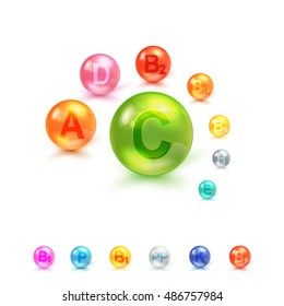 Vitamin Complex Colorful Vector Design Concept Isolated On White