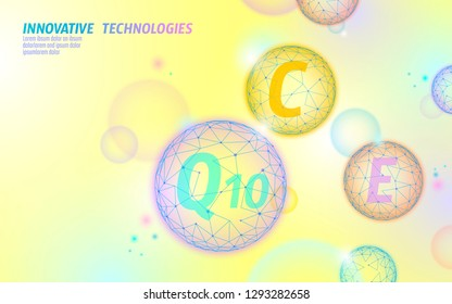 Vitamin complex low poly sphere bubble. Health supplement skin care healthy eating anti-aging pharmacy banner template. 3D coenzyme Q10, C, E. Medicine science vector illustration art
