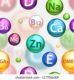 Vitamin complex pharmaceutical seamless pattern. Vector realistic medical vitamins and minerals color balls softgels.
