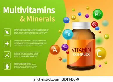 Vitamin complex. Realistic plastic bottle with multivitamins, minerals and colorful flying bubbles, vitamins balls advertising poster vector healthcare pharmacy background with copy space