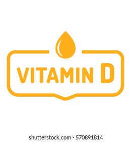 Vitamin D. Badge, icon, logo vector design illustration on white background. Can be used for eco, organic, bio theme.