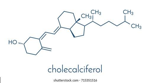 Vitamin D (D3, cholecalciferol) molecule. Skeletal formula.