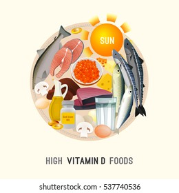 Vitamin D in food. Beautiful vector illustration in modern style isolated on a light background. Nutritional and dietary concept. Top 10 foods highest in Vitamin D