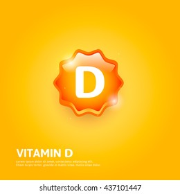 Vitamin D glossy label or icon. Vector illustration
