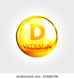 Vitamin D gold icon. Vitamin drop pill capsule. Shining golden essence droplet. Beauty treatment nutrition skin care design. Vector illustration.