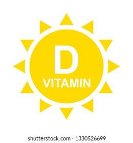Vitamin D Icon with Sun. Vitamin D glossy label or icon. Vector Illustration