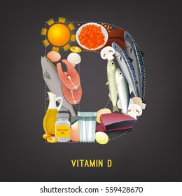 Vitamin D products. Beautiful vector illustration in modern style on a dark grey background. Top foods highest in Vitamin D in a shape of a letter.