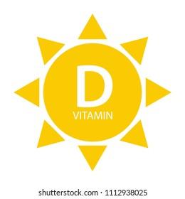 Vitamin D Sun Sign Icon. Vector Illustration EPS10