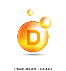 vitamin d, yellow capsule. yellow bubble, realistic vector illustration design.