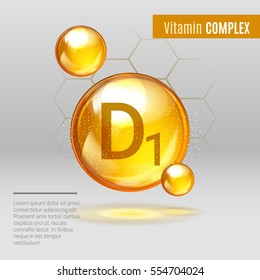 Vitamin D1 gold shining pill capcule icon . Vitamin complex with Chemical formula, group D, cholecalciferol. Shining golden substance drop. Meds for heath ads. Vector illustration