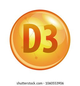 Vitamin D3 capsule. Vector icon for health. Gold shining pill.
