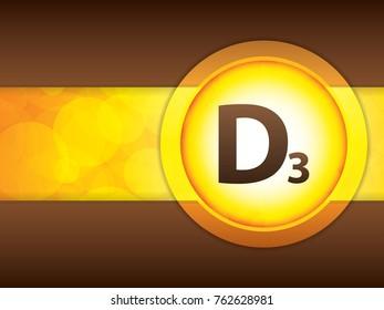 Vitamin D3 glossy brochure.Science concept - vector illustration