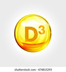 Vitamin D3 gold icon. Cholecalciferol vitamin drop pill capsule. Shining golden essence droplet. Beauty treatment nutrition skin care design. Vector illustration.