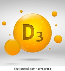 Vitamin D3 gold icon. cholecalciferol drop pill capsule. Vitamin complex design