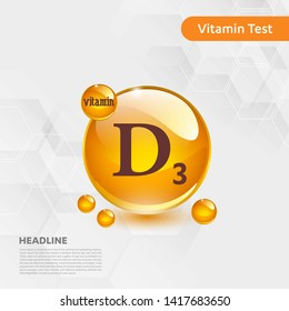 Vitamin D3 gold shining pill capcule icon, cholecalciferol. golden Vitamin complex with Chemical formula substance drop. Medical for heath Vector illustration
