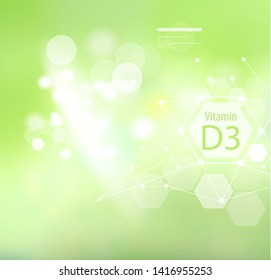 Vitamin D3 on an abstract background. Basics of a healthy diet. Medical vitamin D3 designation.