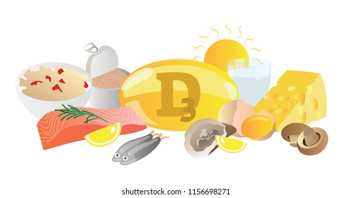 Vitamin D3 vector illustration. Its source collection set. Fish, eggs, milk, sun, caviar, cheese and capsule isolated on white background. Healthy and good living nutrition. Avoid deficient with this.