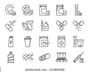 Vitamin and dietary supplement icon set. Included the icons as vitamin c, fish oil, whey protein, tablet, pills, medication, medicine and more.