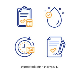 Vitamin e, Accounting checklist and 24h delivery icons simple set. Approved agreement sign. Oil drop, Calculator, Stopwatch. Signature document. Business set. Linear vitamin e icon. Vector