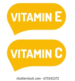 Vitamin E and C. Badge, logo, icon. Vector illustration on white background.