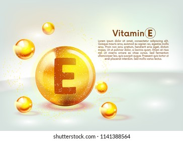 Vitamin E gold shining icon. Ascorbic acid. Shining golden substance drop. Nutrition skin care. Vector illustration.