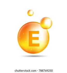 Vitamin E gold shining pill capsule. skin care complex concept.  vector design.