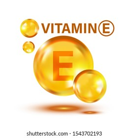 Vitamin E icon in flat style. Pill capcule vector illustration on white isolated background. Skincare business concept.