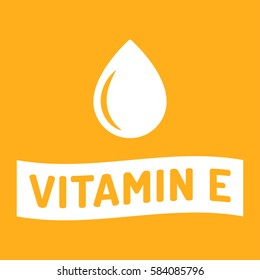 Vitamin E. Ribbon icon logo vector design illustration on yellow background. Can be used for eco, organic, bio theme.
