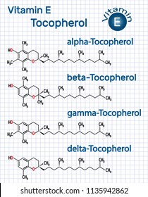 Vitamin E - Tocopherol (alpha-, beta-, gamma-, delta-) molecule. Structural chemical formula. Sheet of paper in a cage. Vector illustration
