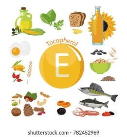"""Vitamin E or Tocopherol."" Food sources. "" Natural organic products with a maximum content of vitamin E. Fundamentals of healthy nutrition"