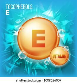Vitamin E Tocopherols Vector.  Organic Vitamin Gold Pill Icon. Medicine Capsule. For Beauty, Cosmetic, Heath Promo Ads Design.  Complex. Illustration