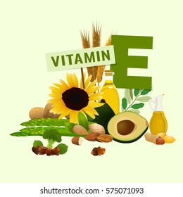 Vitamin E vector illustration. Foods containing vitamin E with a letter E. Source of vitamin E - nuts, corn, vegetables, fish, oils isolated on light beige background