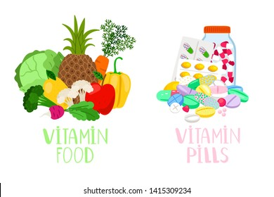 Vitamin food and pills. Vegetables and fruits with micronutrients and healthy food supplements and diet medicine tablets vector illustration