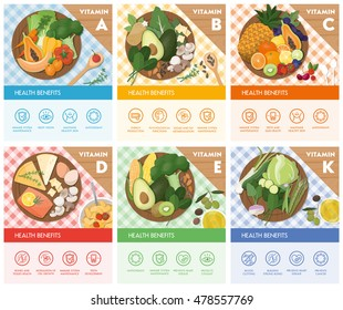 Vitamin food sources and health benefits, food on a chopping board and icons set, top view
