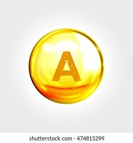 Vitamin A gold icon. Retinol vitamin drop pill capsule. Shining golden essence droplet. Beauty treatment nutrition skin care design. Vector illustration.
