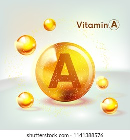 Vitamin A gold shining icon. Ascorbic acid. Shining golden substance drop. Nutrition skin care. Vector illustration.