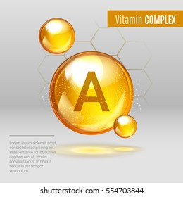 Vitamin A gold shining pill capcule icon . Vitamin complex with Chemical formula ,Retinol Retinol, retinal, beta carotene. Shining golden substance drop. Meds for heath ads. Vector illustration