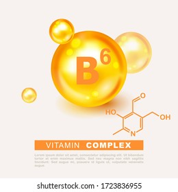 Vitamin gold shining pill capsule icon. Nutrition sign vector concept. The power of vitamin B6. Chemical formula. Pyridoxine vitamin drop pill capsule. Shining golden essence droplet. Beauty treatment