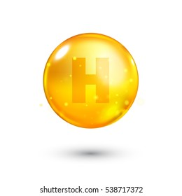 Vitamin H glitter gold icon. Biotin vitamin drop pill capsule. Shining golden essence droplet. Beauty treatment nutrition skin care design. Natural supplement 3d symbol. Vector illustration.